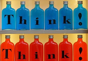 Bottles labelled with the word think!